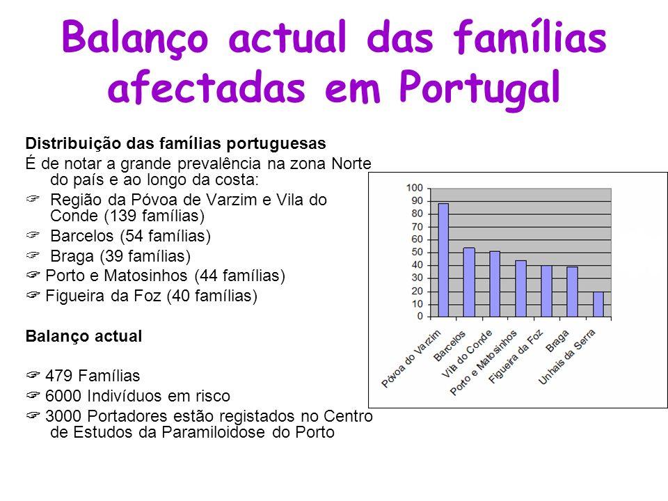 Balanço actual das famílias afectadas em Portugal Distribuição das famílias portuguesas É de notar a grande prevalência na zona Norte do país e ao lon