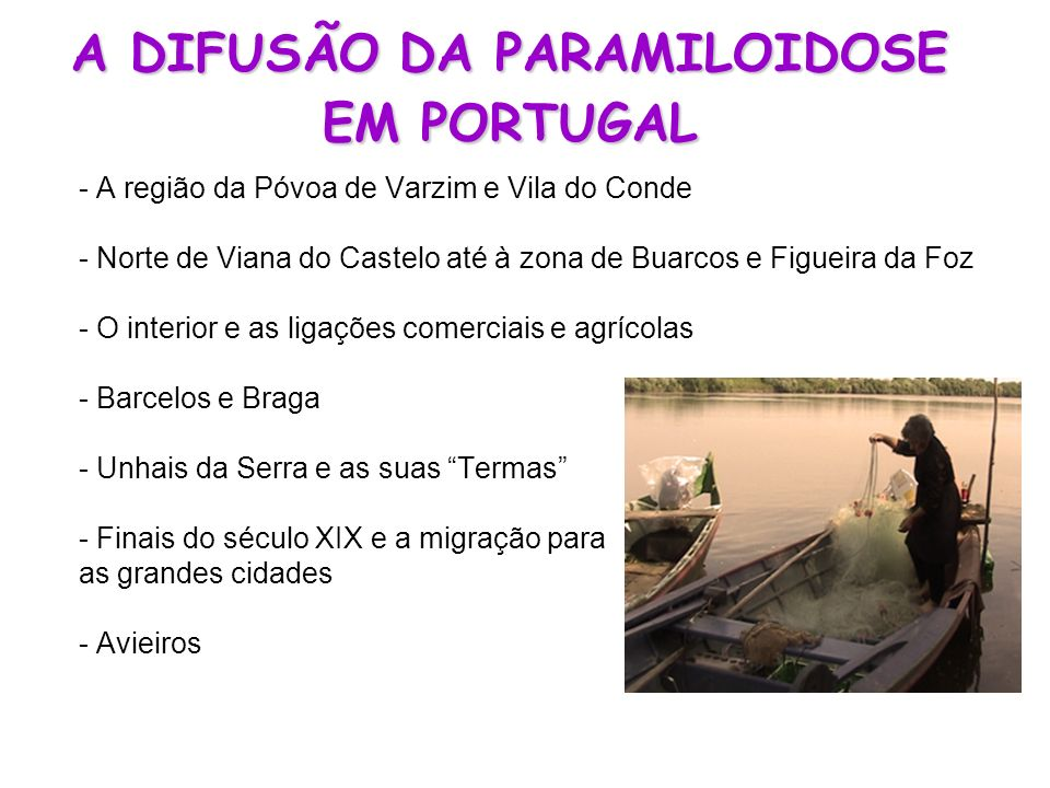 A DIFUSÃO DA PARAMILOIDOSE EM PORTUGAL - A região da Póvoa de Varzim e Vila do Conde - Norte de Viana do Castelo até à zona de Buarcos e Figueira da F