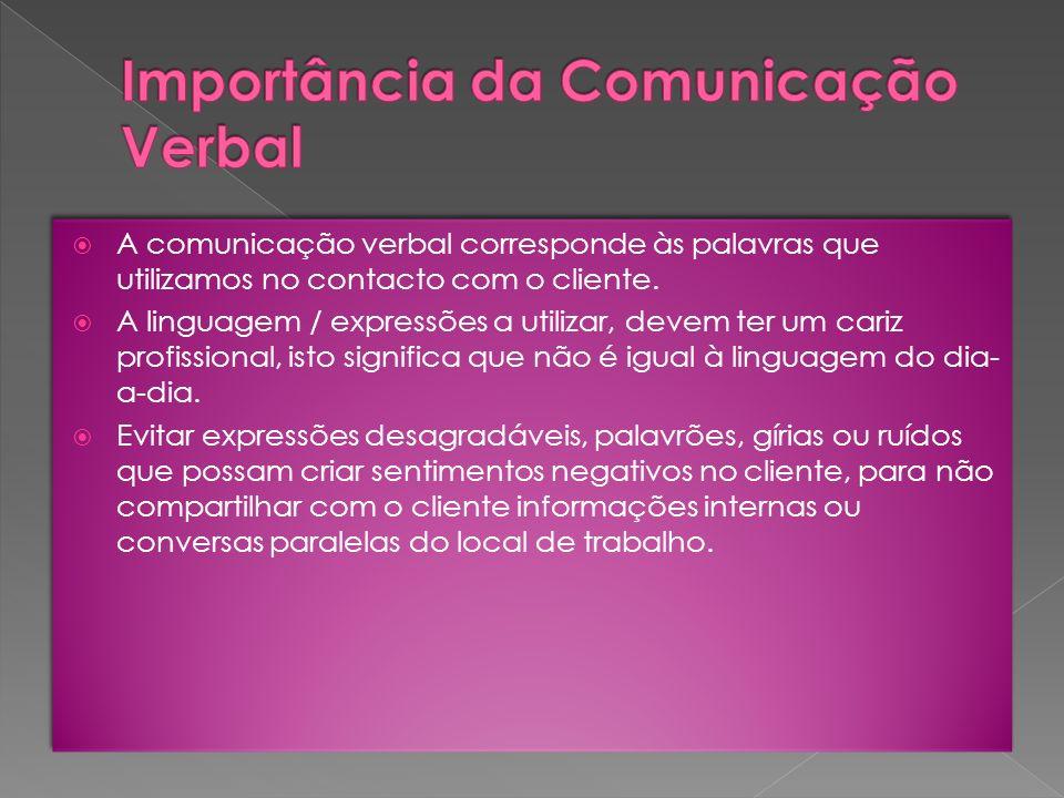 A comunicação verbal corresponde às palavras que utilizamos no contacto com o cliente. A linguagem / expressões a utilizar, devem ter um cariz profiss