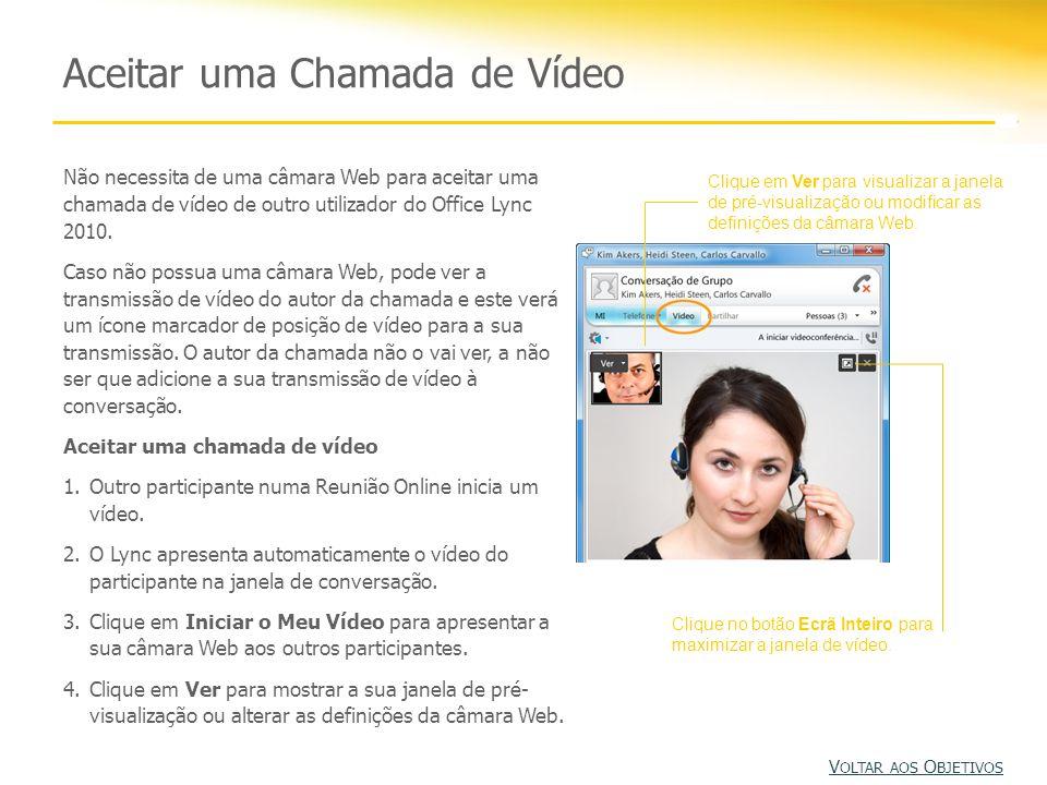 Não necessita de uma câmara Web para aceitar uma chamada de vídeo de outro utilizador do Office Lync 2010. Caso não possua uma câmara Web, pode ver a