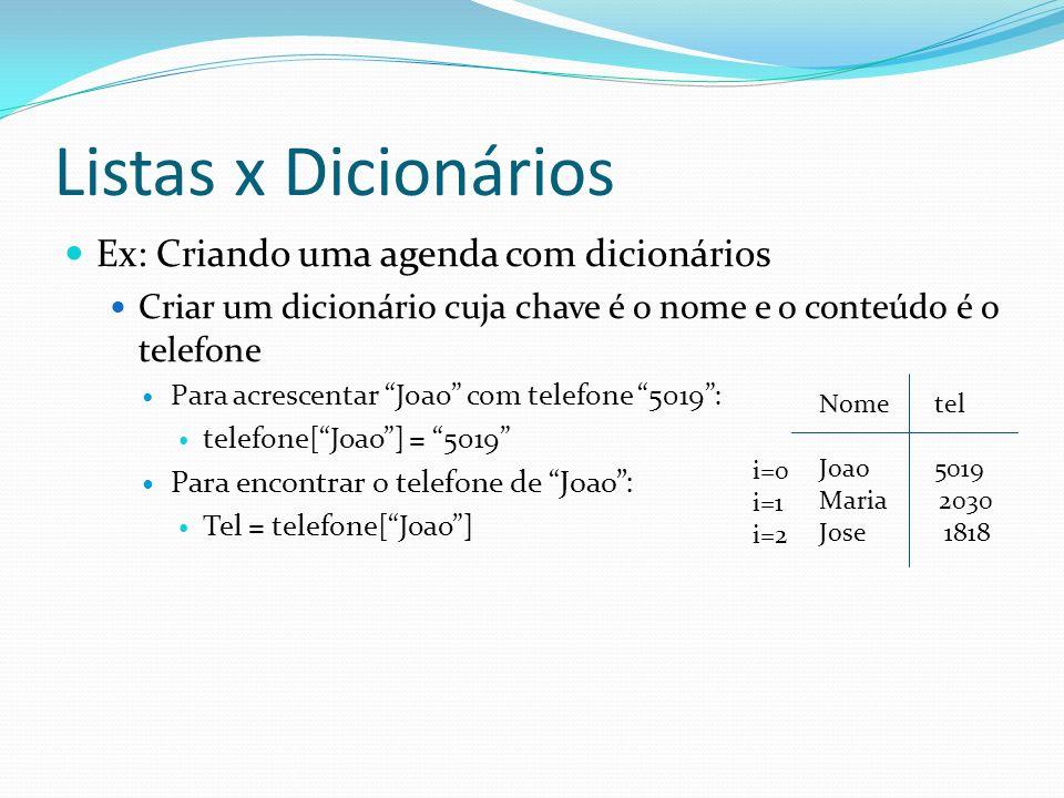 Listas x Dicionários Ex: Criando uma agenda com dicionários Criar um dicionário cuja chave é o nome e o conteúdo é o telefone Para acrescentar Joao co