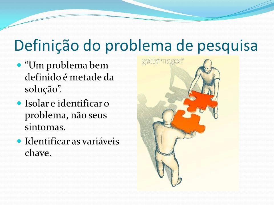 Definição do problema de pesquisa Um problema bem definido é metade da solução. Isolar e identificar o problema, não seus sintomas. Identificar as var