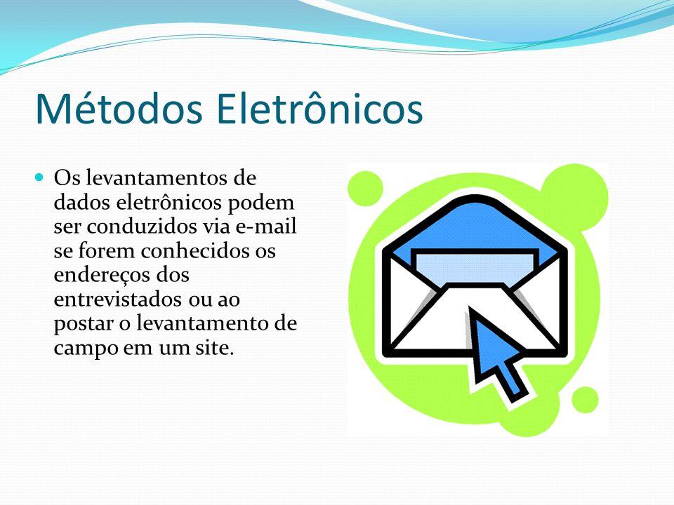 Métodos Eletrônicos Os levantamentos de dados eletrônicos podem ser conduzidos via e-mail se forem conhecidos os endereços dos entrevistados ou ao pos