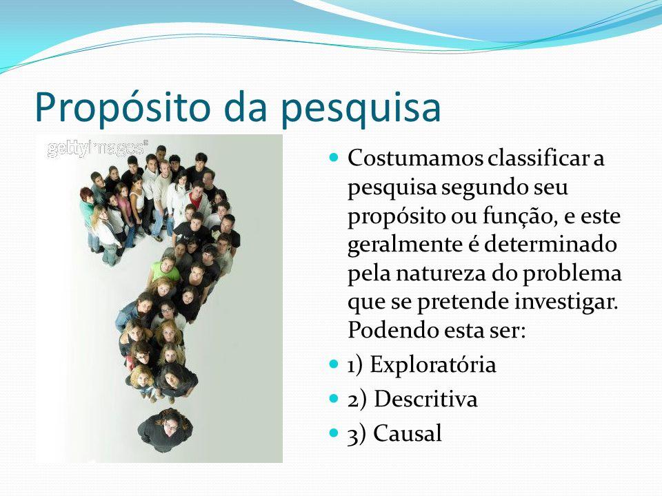 Propósito da pesquisa Costumamos classificar a pesquisa segundo seu propósito ou função, e este geralmente é determinado pela natureza do problema que
