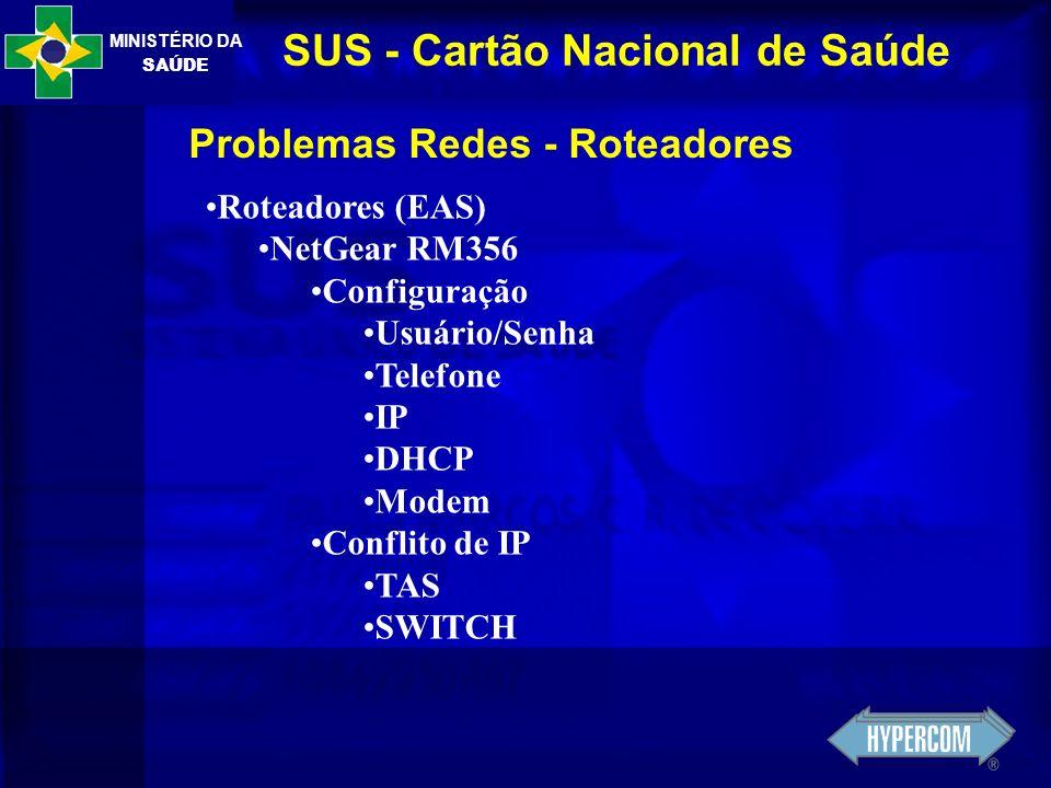 MINISTÉRIO DA SAÚDE SUS - Cartão Nacional de Saúde Problemas Redes - Roteadores Roteadores (EAS) NetGear RM356 Configuração Usuário/Senha Telefone IP