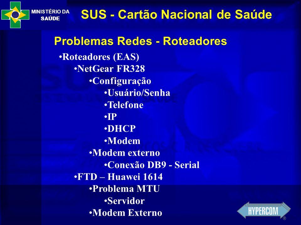 MINISTÉRIO DA SAÚDE SUS - Cartão Nacional de Saúde Problemas Redes - Roteadores Roteadores (EAS) NetGear FR328 Configuração Usuário/Senha Telefone IP
