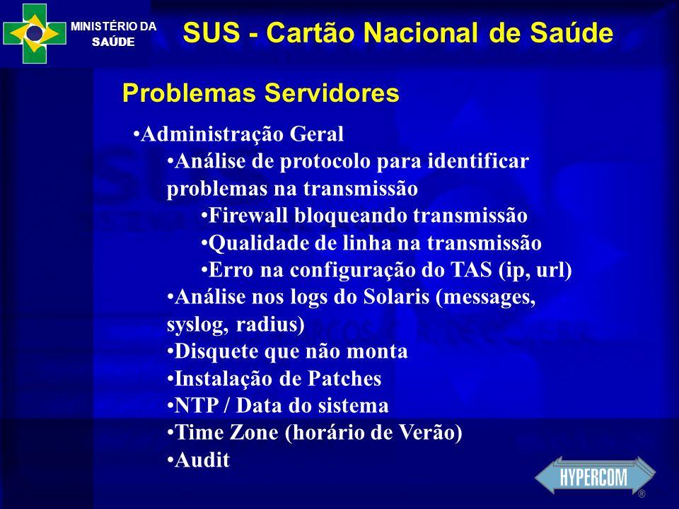 MINISTÉRIO DA SAÚDE SUS - Cartão Nacional de Saúde Problemas Servidores Administração Geral Análise de protocolo para identificar problemas na transmi