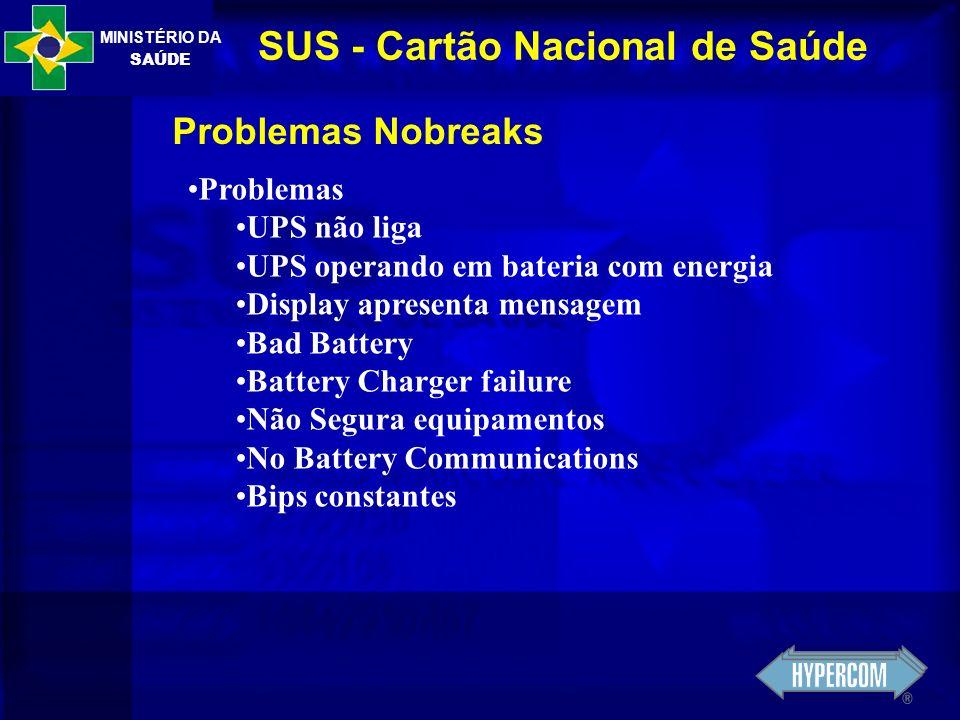 MINISTÉRIO DA SAÚDE SUS - Cartão Nacional de Saúde Problemas Nobreaks Problemas UPS não liga UPS operando em bateria com energia Display apresenta men