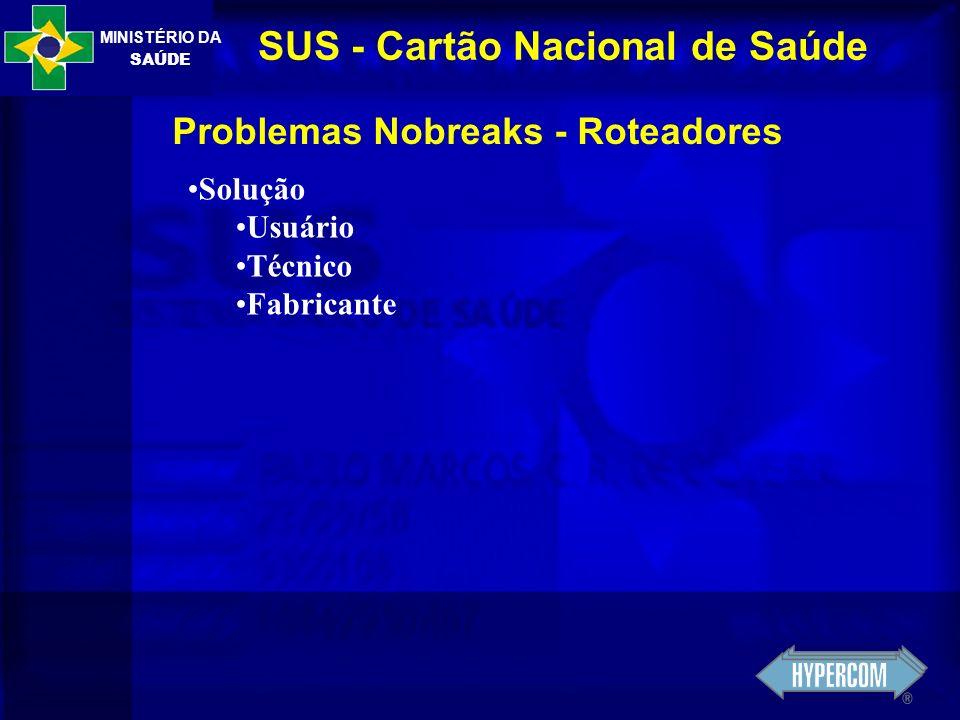 MINISTÉRIO DA SAÚDE SUS - Cartão Nacional de Saúde Problemas Nobreaks - Roteadores Solução Usuário Técnico Fabricante