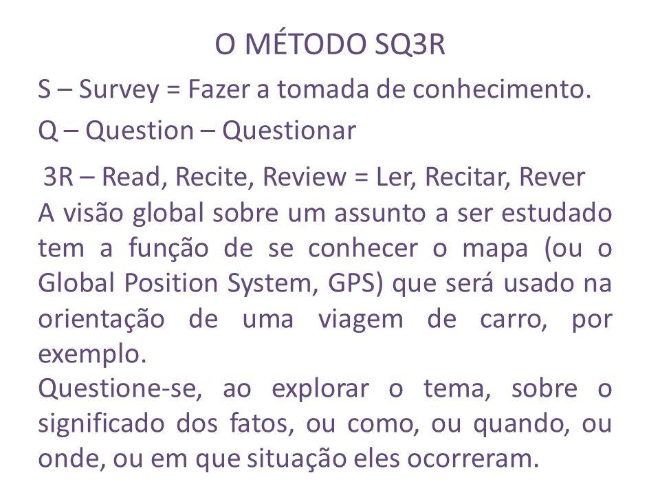 O MÉTODO SQ3R S – Survey = Fazer a tomada de conhecimento. A visão global sobre um assunto a ser estudado tem a função de se conhecer o mapa (ou o Glo