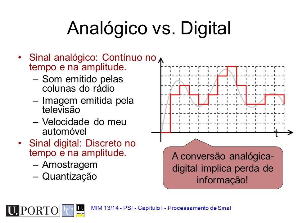 Analógico vs Digital 1.Sinal biomédico 2.Analógico vs Digital 3.Quantização e amostragem 4.Ruído 5.Convolução 6.Introdução à Transformada de Fourier M