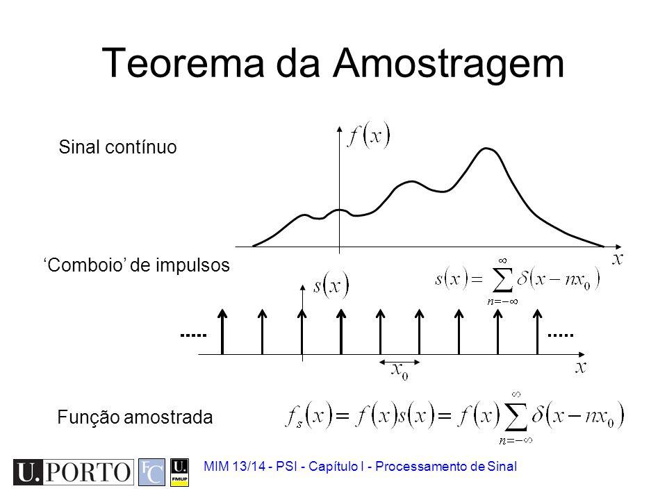 MIM 13/14 - PSI - Capítulo I - Processamento de Sinal Amostragem Apenas um valor é recolhido num intervalo definido de tempo. –Cada valor corresponde