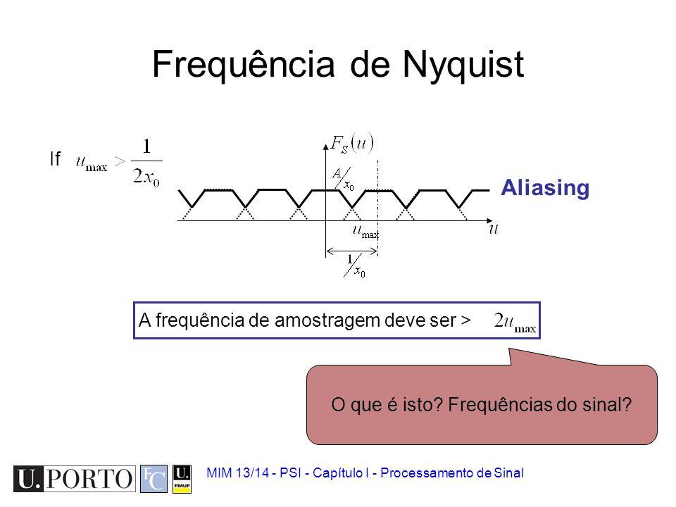 MIM 13/14 - PSI - Capítulo I - Processamento de Sinal Teorema da Amostragem Sinal contínuo Comboio de impulsos Função amostrada