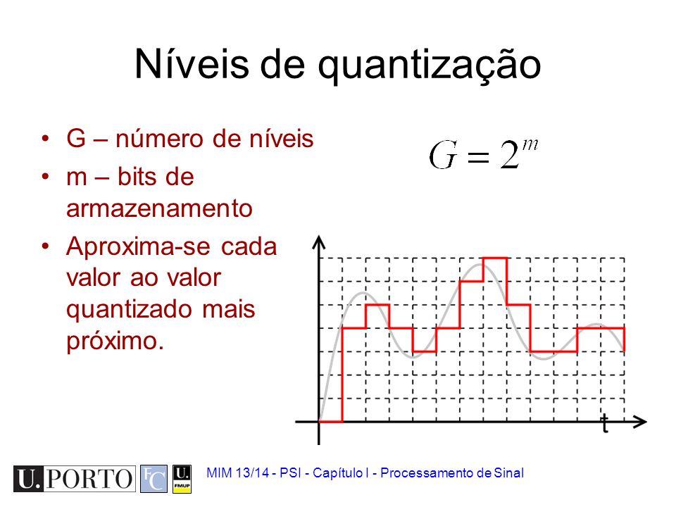 MIM 13/14 - PSI - Capítulo I - Processamento de Sinal Quantização Amostras possuem um número finito de valores possíveis. –O valor analógico é arredon