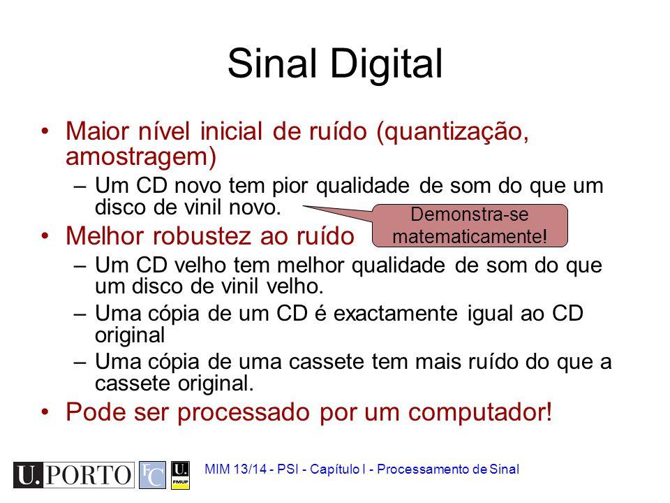 MIM 13/14 - PSI - Capítulo I - Processamento de Sinal Efeitos da quantização
