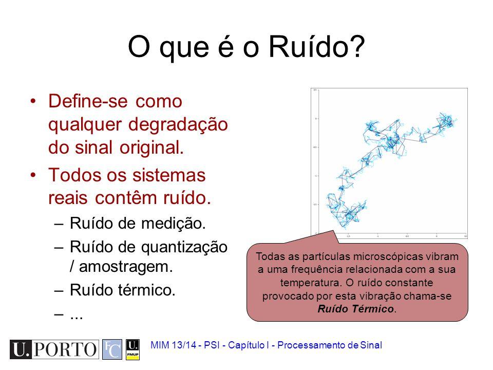 Ruído 1.Sinal biomédico 2.Analógico vs Digital 3.Quantização e amostragem 4.Ruído 5.Convolução 6.Introdução à Transformada de Fourier MIM 13/14 - PSI