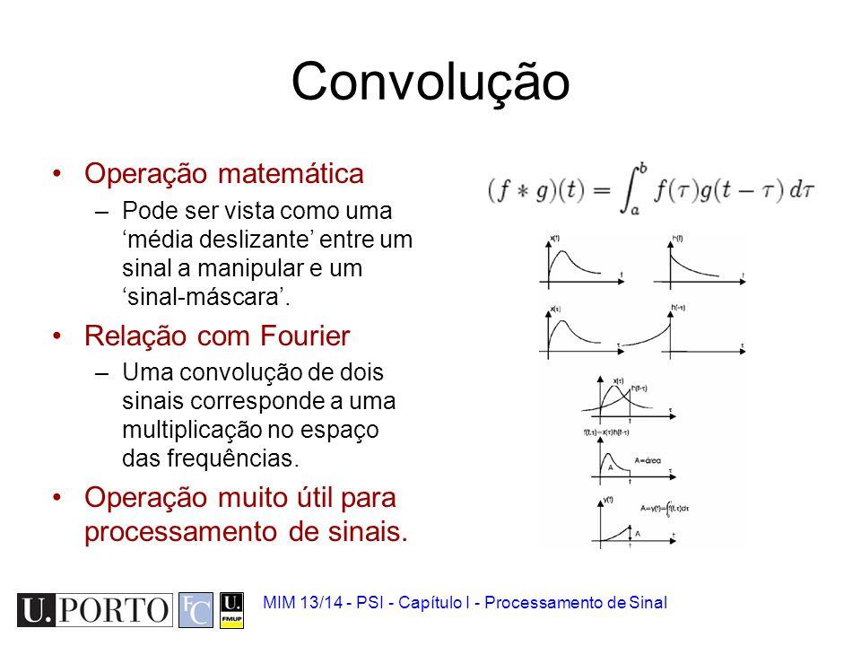Convolução 1.Sinal biomédico 2.Analógico vs Digital 3.Quantização e amostragem 4.Ruído 5.Convolução 6.Introdução à Transformada de Fourier MIM 13/14 -