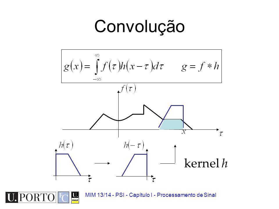 Convolução Operação matemática –Pode ser vista como uma média deslizante entre um sinal a manipular e um sinal-máscara. Relação com Fourier –Uma convo