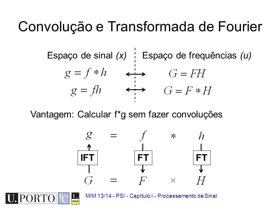 MIM 13/14 - PSI - Capítulo I - Processamento de Sinal Propriedades da convolução Comutativa Associativa Vantagem: Sistemas em cascata!