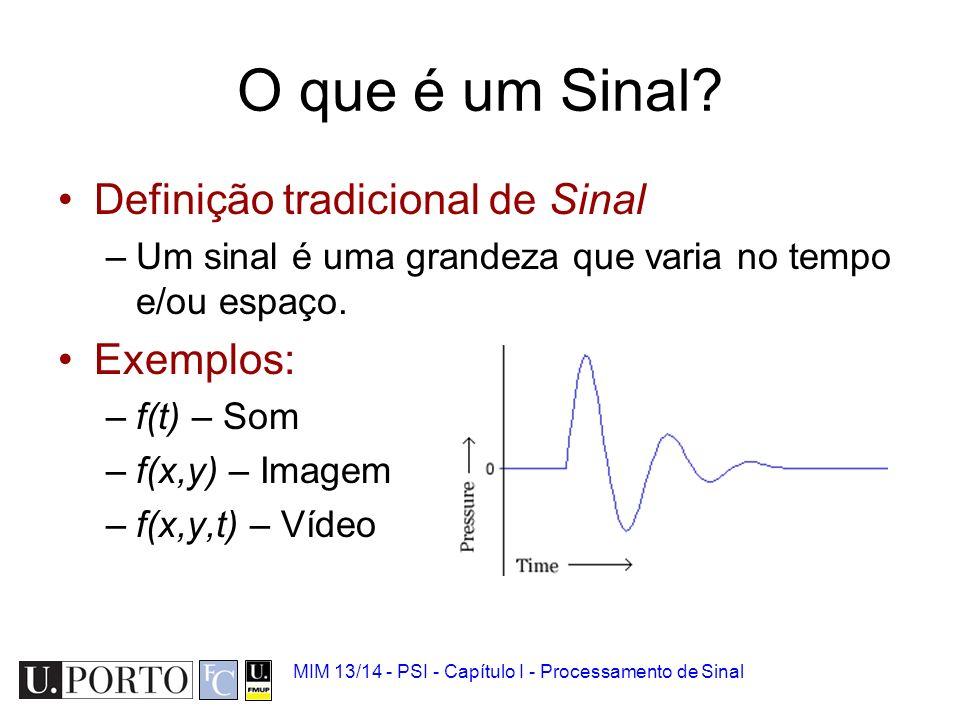 Sinal biomédico 1.Sinal biomédico 2.Analógico vs Digital 3.Quantização e amostragem 4.Ruído 5.Convolução 6.Introdução à Transformada de Fourier MIM 13
