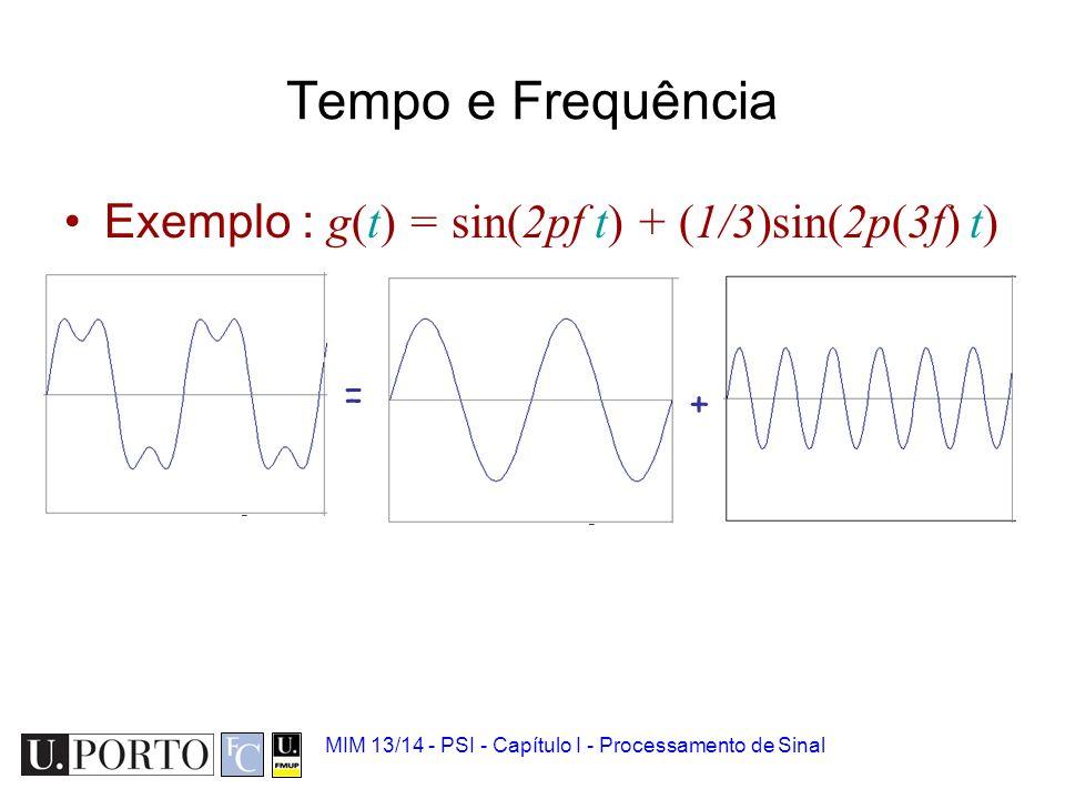 MIM 13/14 - PSI - Capítulo I - Processamento de Sinal Tempo e Frequência Exemplo : g(t) = sin(2pf t) + (1/3)sin(2p(3f) t)