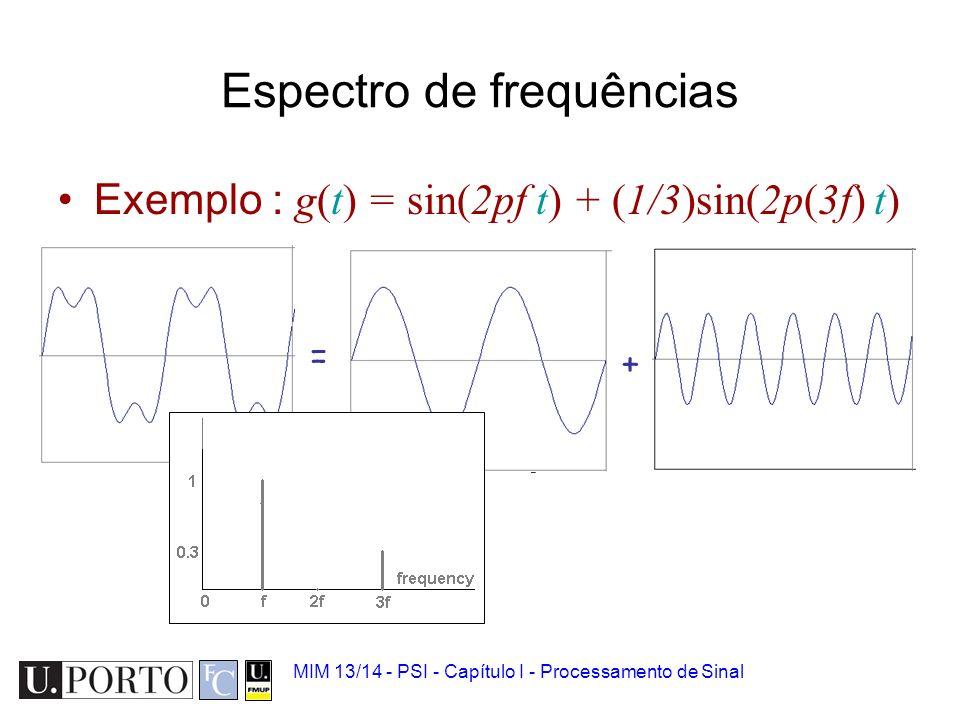 MIM 13/14 - PSI - Capítulo I - Processamento de Sinal Tempo e Frequência Exemplo : g(t) = sin(2pf t) + (1/3)sin(2p(3f) t) = +
