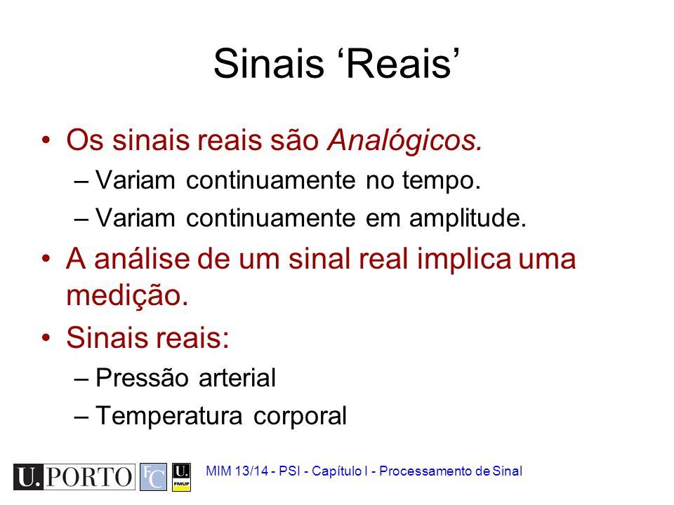 MIM 13/14 - PSI - Capítulo I - Processamento de Sinal Sinais Reais Os sinais reais são Analógicos.