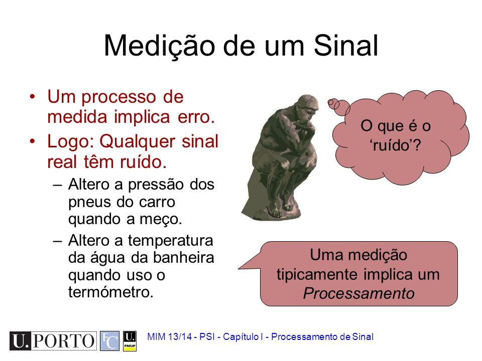 MIM 13/14 - PSI - Capítulo I - Processamento de Sinal Medição de um Sinal Um processo de medida implica erro.