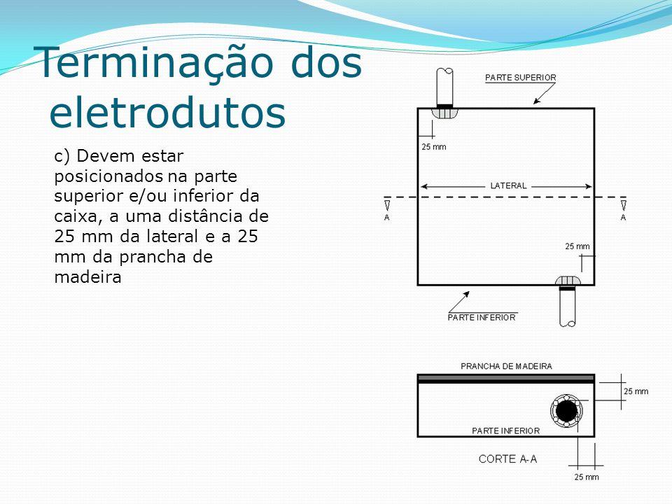 Terminação dos eletrodutos d) Quando houver numa caixa mais de uma tubulação primária, deve haver uma distância de 25 mm entre elas; e) A entrada e saída da tubulação primária pertencente à prumada deve ser posicionada em lados alternados da caixa conforme figura 11; f) A tubulação secundária deve ser instalada na parede inferior ou superior da caixa; g) A tubulação secundária não pertencente à prumada (destinada a atender as caixas de saída do próprio andar) deve ser instalada do meio da caixa de distribuição em direção às laterais, conforme exemplo e detalhe da figura 11; h) A tubulação secundária pertencente à prumada (que atende caixas de saída de outros andares), deve ser instalada nos cantos da caixa de distribuição, conforme exemplo e detalhe da figura