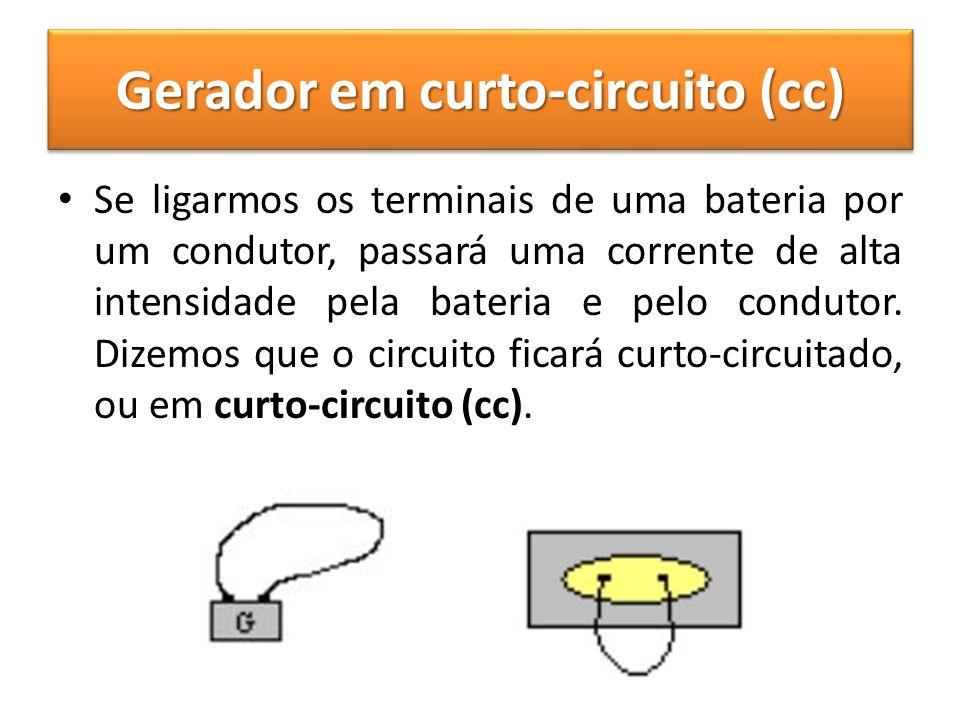 Gerador em curto-circuito (cc) Se ligarmos os terminais de uma bateria por um condutor, passará uma corrente de alta intensidade pela bateria e pelo c
