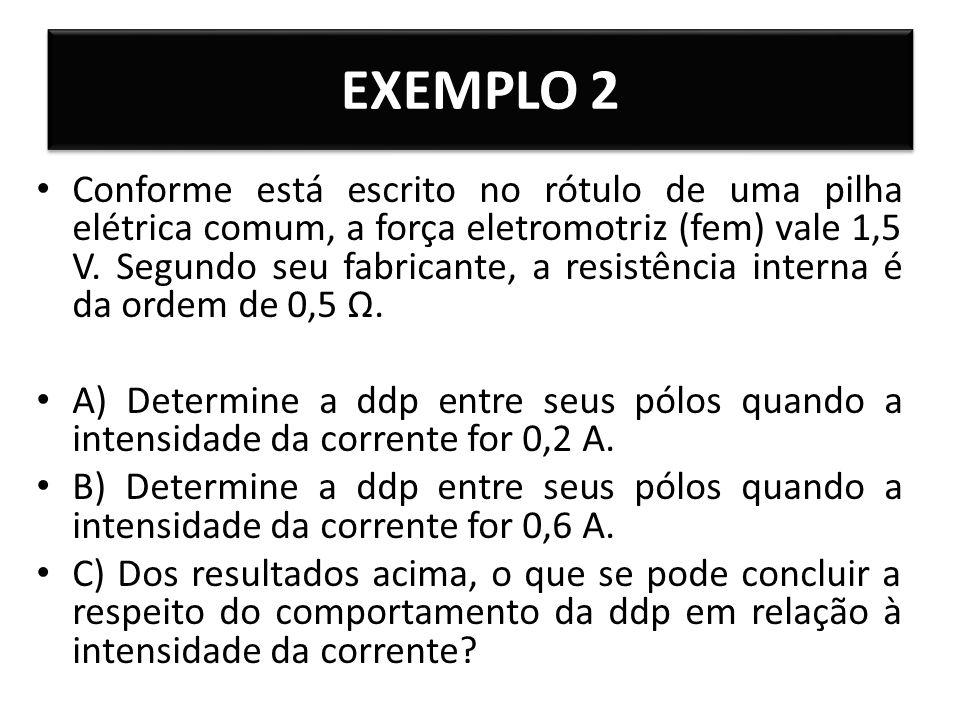 EXEMPLO 2 Conforme está escrito no rótulo de uma pilha elétrica comum, a força eletromotriz (fem) vale 1,5 V. Segundo seu fabricante, a resistência in
