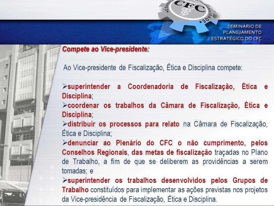 Compete ao Vice-presidente: Ao Vice-presidente de Fiscalização, Ética e Disciplina compete: superintender a Coordenadoria de Fiscalização, Ética e Dis