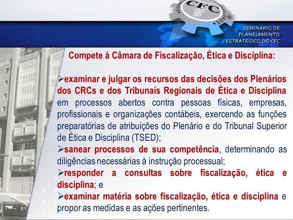 Compete à Câmara de Fiscalização, Ética e Disciplina: examinar e julgar os recursos das decisões dos Plenários dos CRCs e dos Tribunais Regionais de É