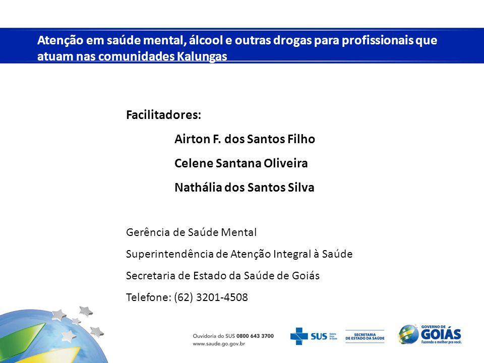 Facilitadores: Airton F. dos Santos Filho Celene Santana Oliveira Nathália dos Santos Silva Gerência de Saúde Mental Superintendência de Atenção Integ