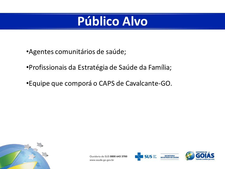 Agentes comunitários de saúde; Profissionais da Estratégia de Saúde da Família; Equipe que comporá o CAPS de Cavalcante-GO. Público Alvo