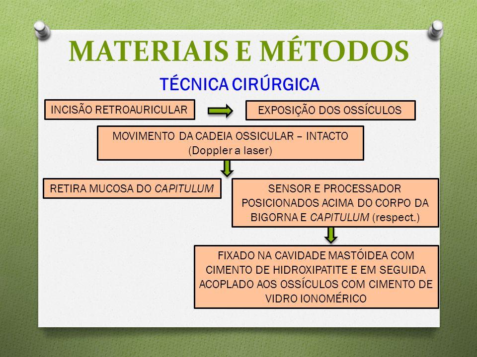 TÉCNICA CIRÚRGICA MATERIAIS E MÉTODOS INCISÃO RETROAURICULAR EXPOSIÇÃO DOS OSSÍCULOS MOVIMENTO DA CADEIA OSSICULAR – INTACTO (Doppler a laser) RETIRA MUCOSA DO CAPITULUMSENSOR E PROCESSADOR POSICIONADOS ACIMA DO CORPO DA BIGORNA E CAPITULUM (respect.) FIXADO NA CAVIDADE MASTÓIDEA COM CIMENTO DE HIDROXIPATITE E EM SEGUIDA ACOPLADO AOS OSSÍCULOS COM CIMENTO DE VIDRO IONOMÉRICO