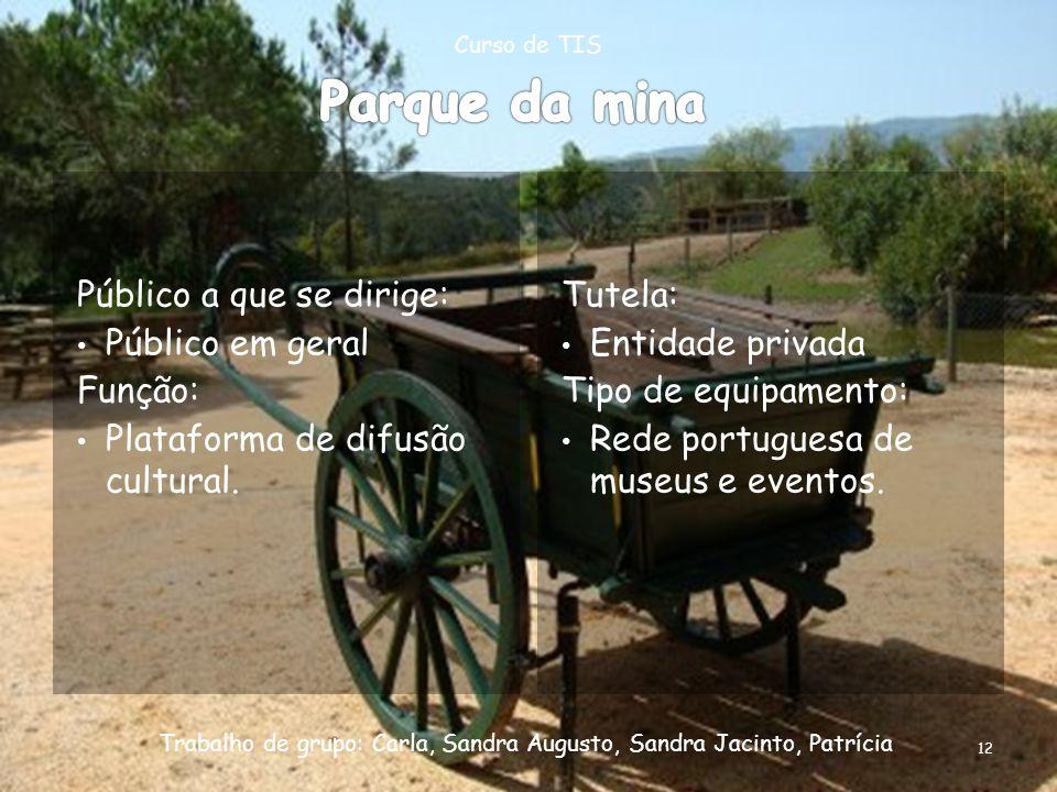 Tutela: Entidade privada Tipo de equipamento: Rede portuguesa de museus e eventos. Curso de TIS Trabalho de grupo: Carla, Sandra Augusto, Sandra Jacin
