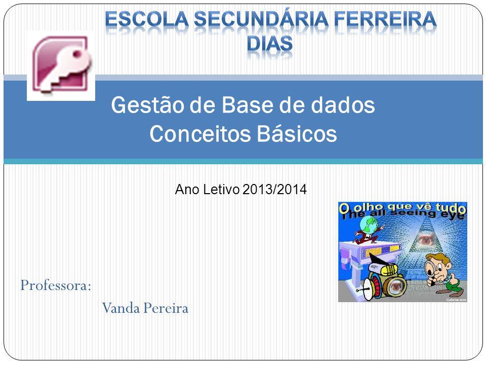 Gestão de Base de dados Conceitos Básicos Ano Letivo 2013/2014 Professora: Vanda Pereira