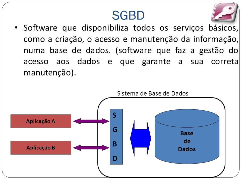 SGBD Software que disponibiliza todos os serviços básicos, como a criação, o acesso e manutenção da informação, numa base de dados. (software que faz
