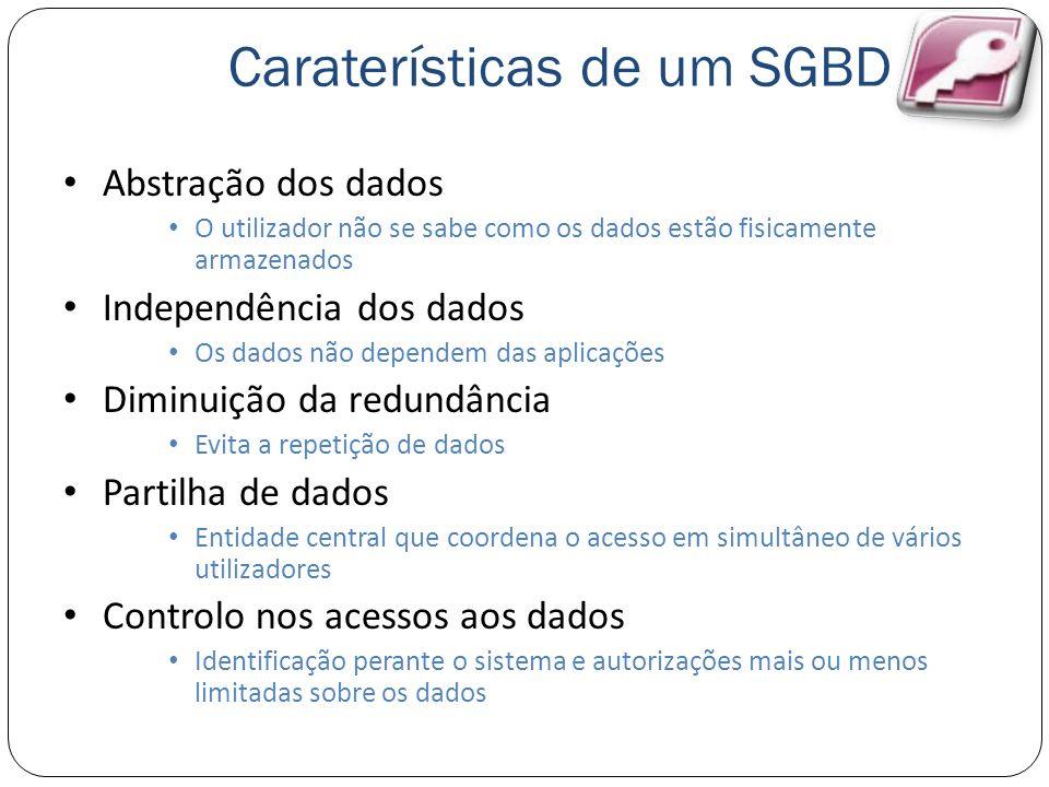 Caraterísticas de um SGBD Abstração dos dados O utilizador não se sabe como os dados estão fisicamente armazenados Independência dos dados Os dados nã