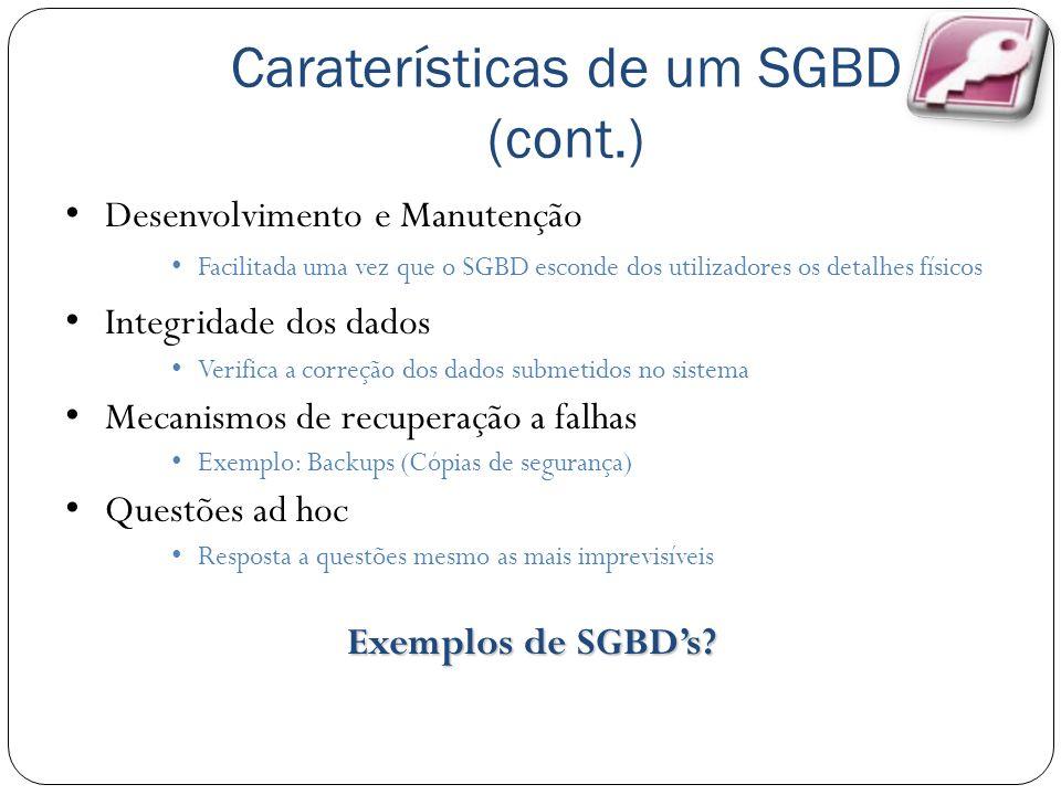 Caraterísticas de um SGBD (cont.) Desenvolvimento e Manutenção Facilitada uma vez que o SGBD esconde dos utilizadores os detalhes físicos Integridade dos dados Verifica a correção dos dados submetidos no sistema Mecanismos de recuperação a falhas Exemplo: Backups (Cópias de segurança) Questões ad hoc Resposta a questões mesmo as mais imprevisíveis Exemplos de SGBDs?