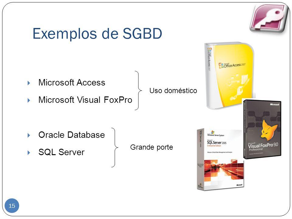 Exemplos de SGBD 15 Microsoft Access Microsoft Visual FoxPro Oracle Database SQL Server Uso doméstico Grande porte