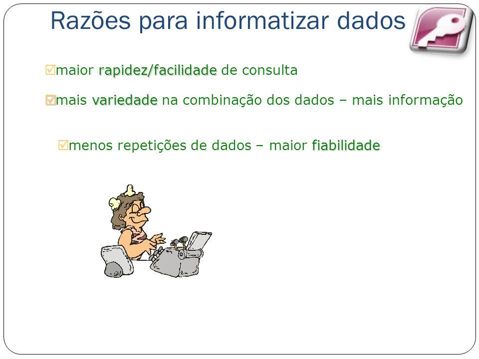 Razões para informatizar dados rapidez/facilidade maior rapidez/facilidade de consulta variedade mais variedade na combinação dos dados – mais informa