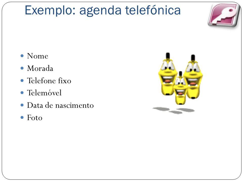 Exemplo: agenda telefónica Nome Morada Telefone fixo Telemóvel Data de nascimento Foto