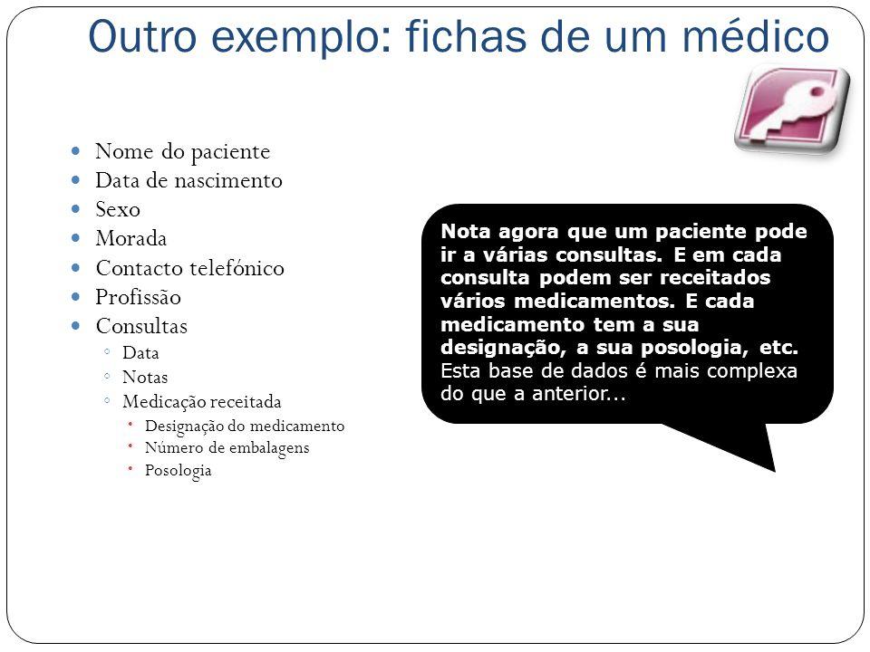 Outro exemplo: fichas de um médico Nome do paciente Data de nascimento Sexo Morada Contacto telefónico Profissão Consultas Data Notas Medicação receit