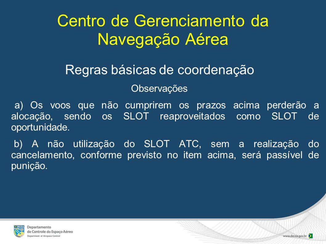 Centro de Gerenciamento da Navegação Aérea Regras básicas de coordenação Observações a) Os voos que não cumprirem os prazos acima perderão a alocação,