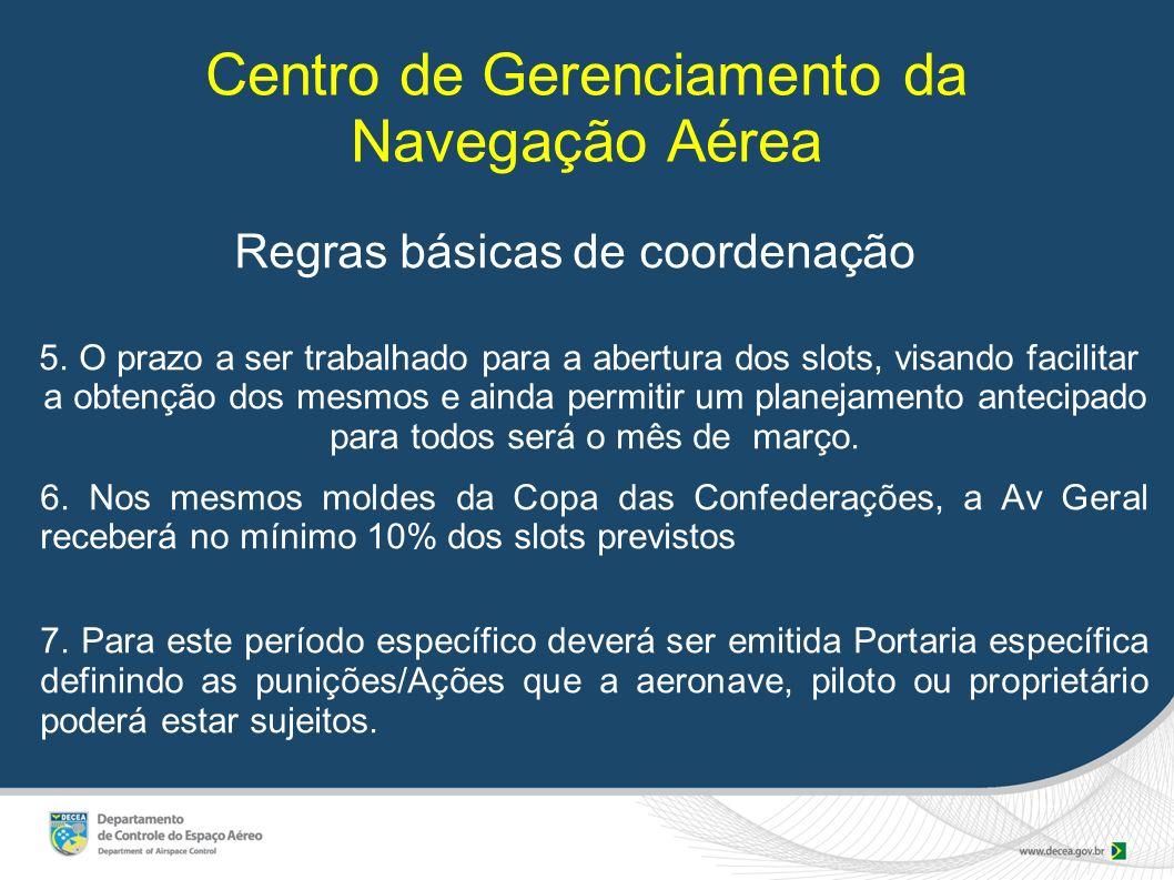 Centro de Gerenciamento da Navegação Aérea Regras básicas de coordenação 5. O prazo a ser trabalhado para a abertura dos slots, visando facilitar a ob