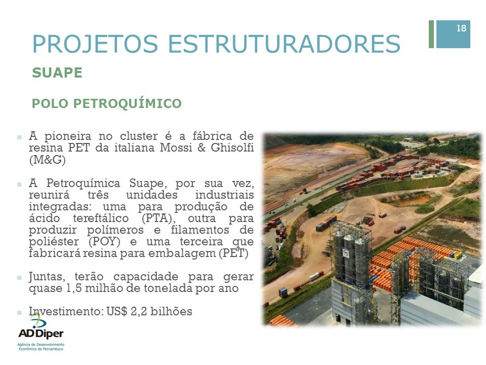 18 PROJETOS ESTRUTURADORES SUAPE POLO PETROQUÍMICO A pioneira no cluster é a fábrica de resina PET da italiana Mossi & Ghisolfi (M&G) A Petroquímica S