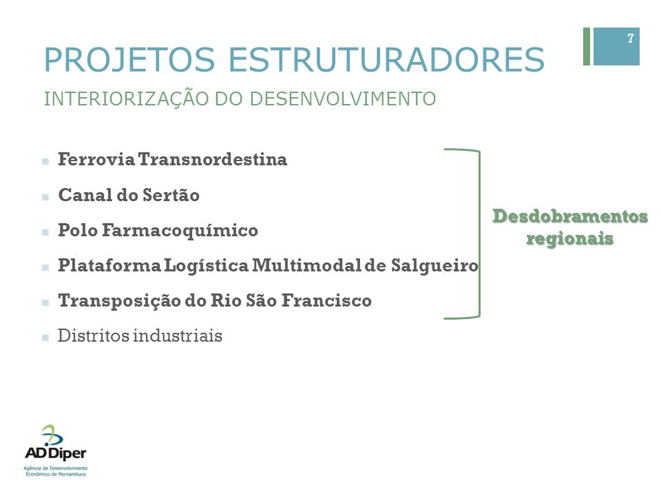 7 PROJETOS ESTRUTURADORES INTERIORIZAÇÃO DO DESENVOLVIMENTO Ferrovia Transnordestina Canal do Sertão Polo Farmacoquímico Plataforma Logística Multimod