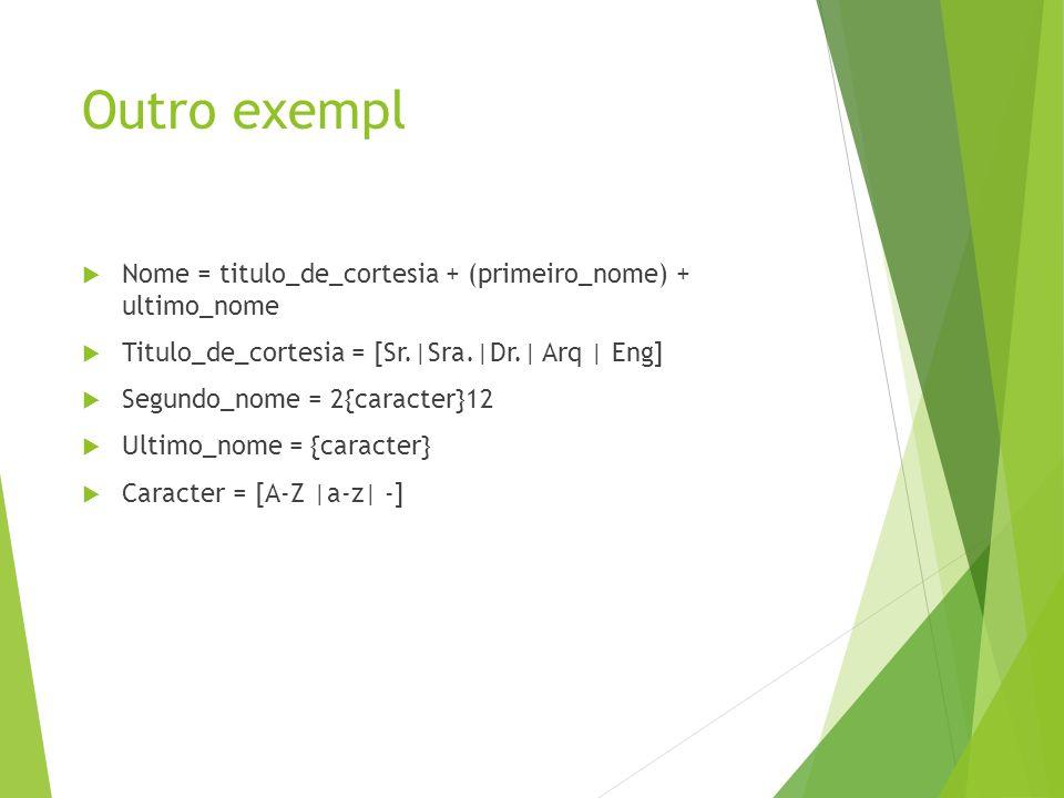 Outro exempl Nome = titulo_de_cortesia + (primeiro_nome) + ultimo_nome Titulo_de_cortesia = [Sr.|Sra.|Dr.| Arq | Eng] Segundo_nome = 2{caracter}12 Ult